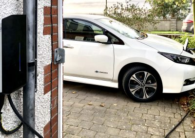 EV car charging installation with load balancing. The unit will automatically adjust the output charge current to the car depending on the supply load current to prevent overloading the main electrical supply